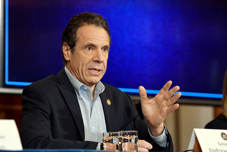 New York Gov. Andrew Cuomo announcing updates on the spread of the coronavirus during a news conference at the state Capitol. Albany, New York, March 15, 2020.