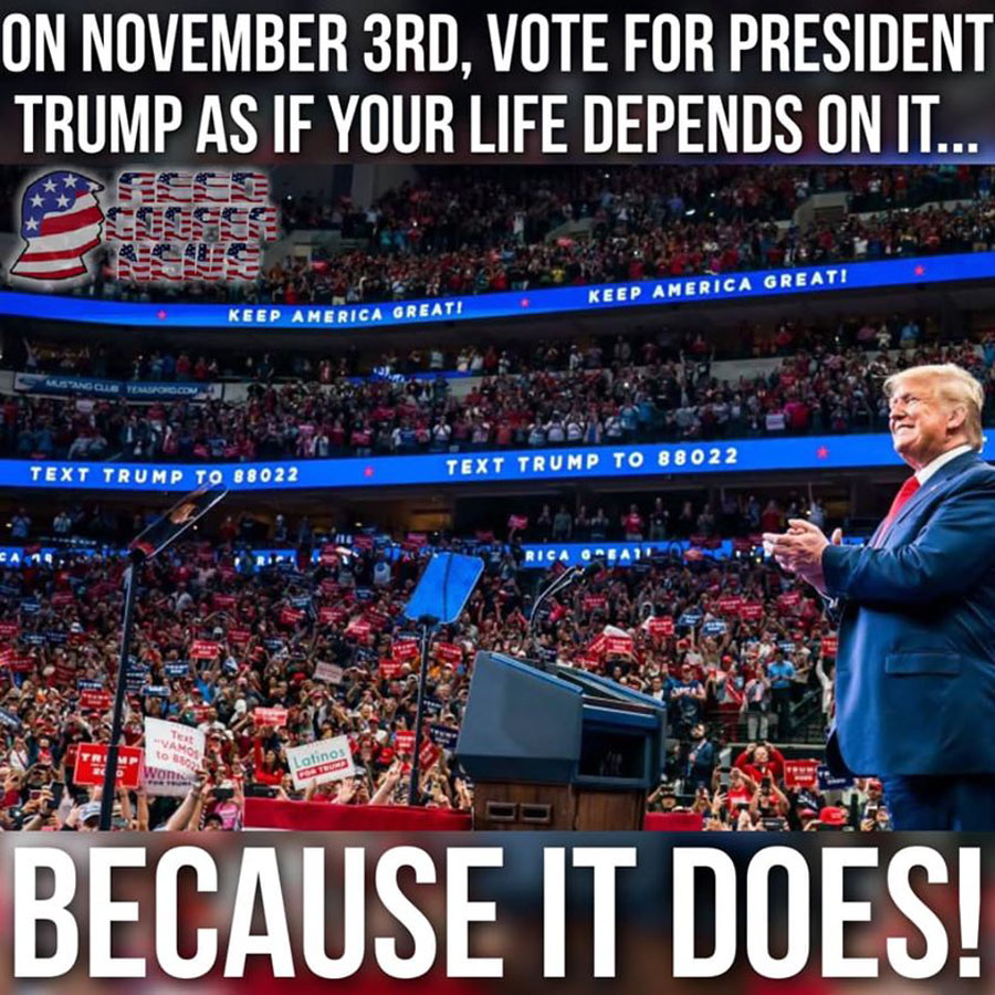 Now is the time to vote for President Trump, and those who support him, as if your life depends on it, because it does.