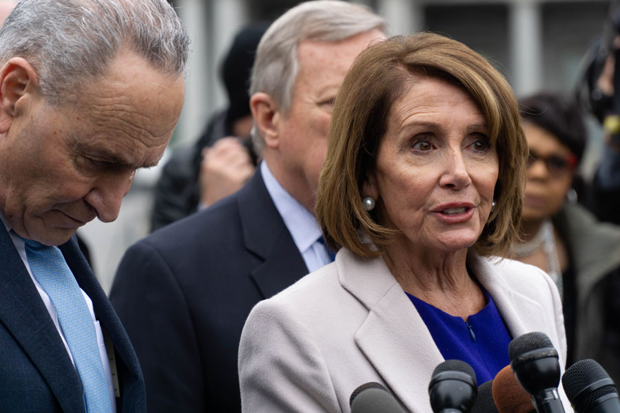 Democratic leaders address the media after meeting with Republicans to work out a compromise to end the partial government shutdown. Washington, D.C., January 4 2019 Editorial credit: Michael Candelori / Shutterstock.com, licensed.