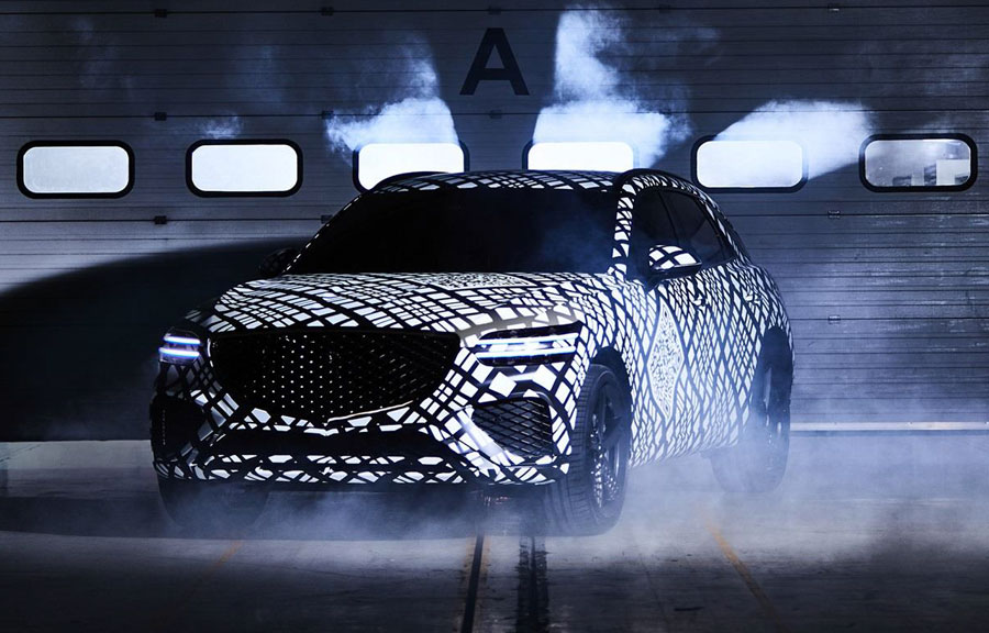 GV70 makes its first public debut in Korea. G-Matrix camouflage highlights distinctive brand design details. The camouflaged vehicle shown in the teaser photo previews the brand's second SUV, a dynamic midsize that joins the GV80 in a rapidly expanding model lineup.