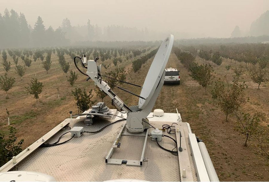 A FEMA Incident Response Vehicle provides communication support for urban search and rescue efforts from a burned-out orchard in the hills east of Springfield, Oregon. FEMA photo by Don Sheppard. September 18, 2020. FEMA photo by Don Sheppard.