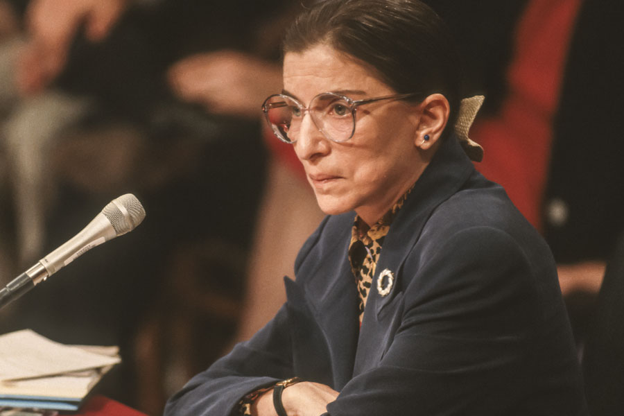Ruth Bader Ginsburg, during confirmation hearings, U. S. Supreme Court. Washington, D.C. July 21, 1993. Photo credit: Rob Crandall / Shutterstock.com, licensed.