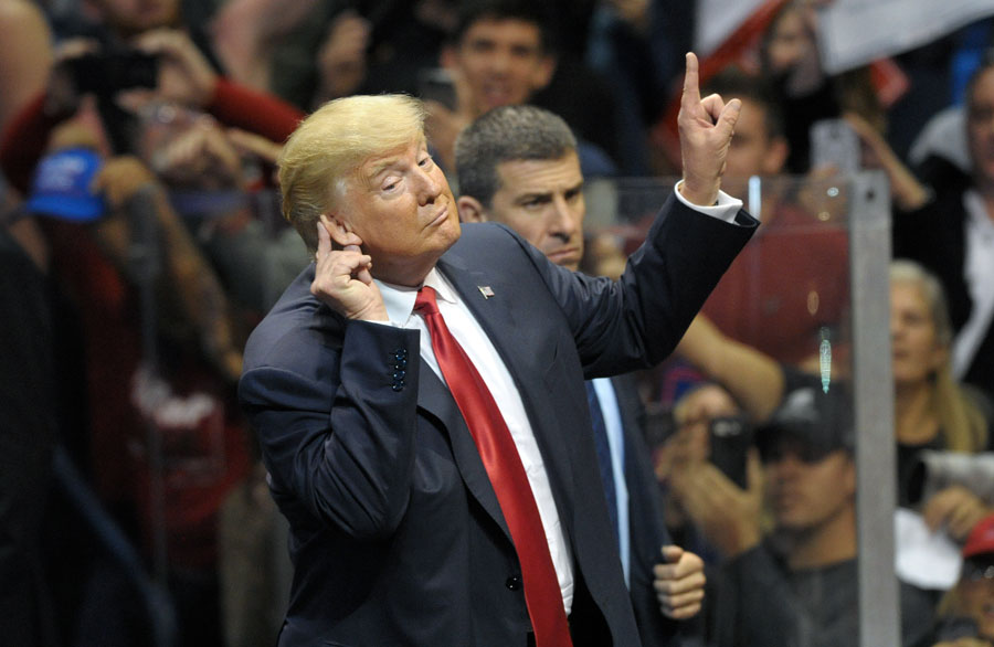 Then Republican Presidential nominee Donald Trump appears during a rally Oct. 10, 2016, at Mohegan Sun Arena in Wilkes-Barre, Pennsylvania. Photo credit: Matt Smith Photographer / Shutterstock.com, licensed.