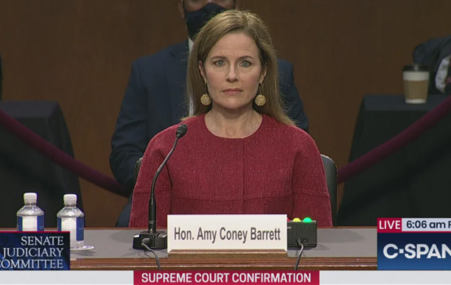 Judge Amy Coney Barrett conducted herself with dignity and was composed under pressure during three days of grueling questions, which sounded more like an interrogation. Photo credit: C-SPAN.