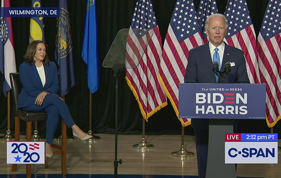 2020 Democratic presidential nominee Joe Biden formally introduced Senator Kamala Harris (D-CA) as his vice presidential running mate. August 12, 2020. Photo: C-SPAN.