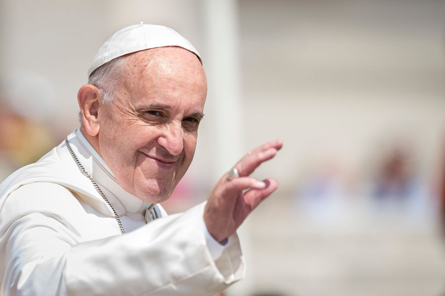 Pope Francis arrives for his weekly general audience in St. Peter's Square at the Vatican. Vatican City