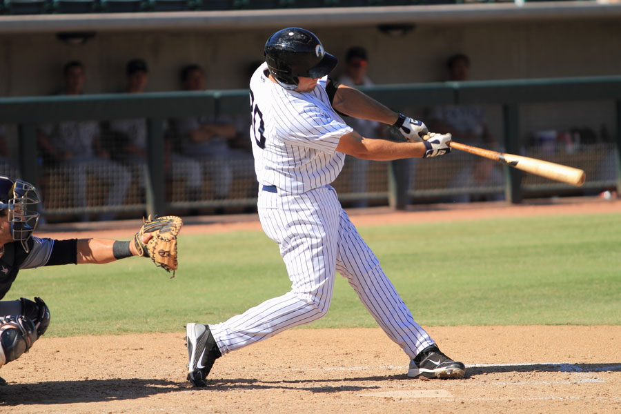 Rob Segedin, a High-A New York Yankees prospect, bats for the Phoenix Desert Dogs in an Arizona Fall League game Oct. 19, 2011 at Phoenix Municipal Stadium, Phoenix, AZ. Photo credit: Bill Florence / Shutterstock.com, licensed.