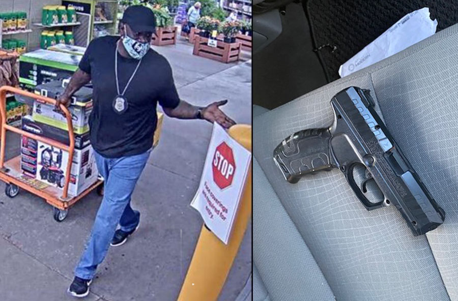During the thefts, Smith was either dressed in a security guard's uniform or as an off-duty law enforcement officer, wearing a badge on a lanyard around his neck and carrying a gun in a holster on his waist.