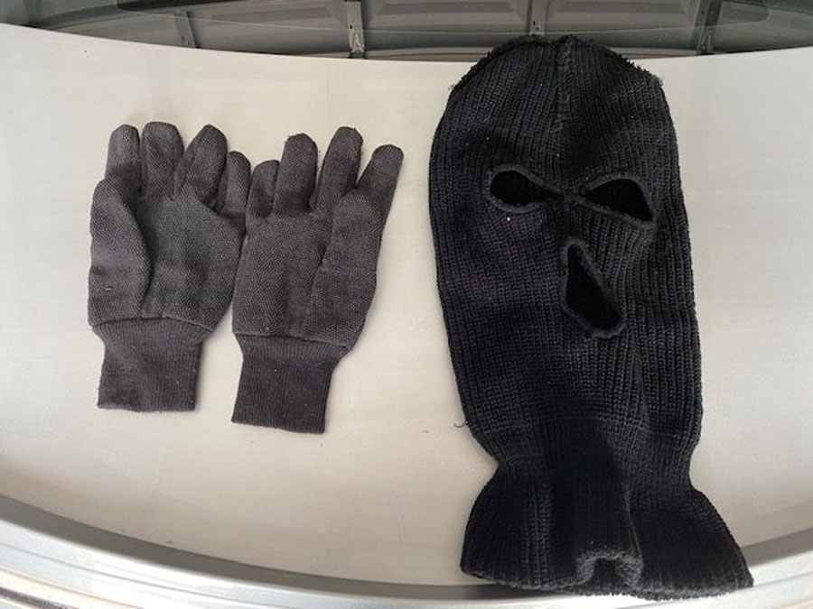 Deputies recovered a ski mask and a pair of gloves from the stolen vehicle.