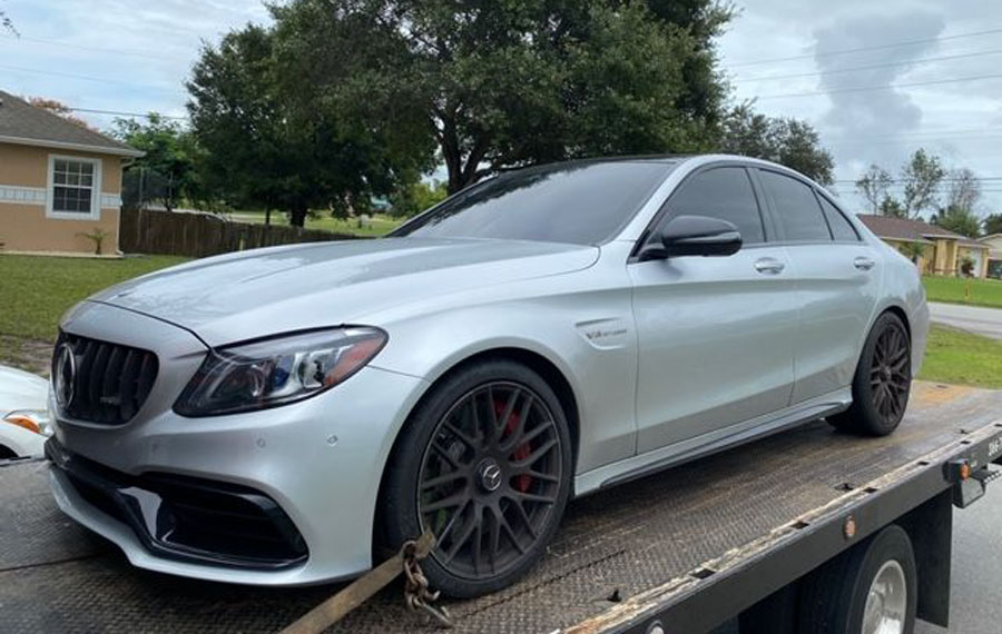 Just before 9 a.m., the stolen Mercedes Benz was picked up by a License Plate Reader in northwest Volusia County. Minutes later, the driver fled from a DeLand police officer who attempted a traffic stop.
