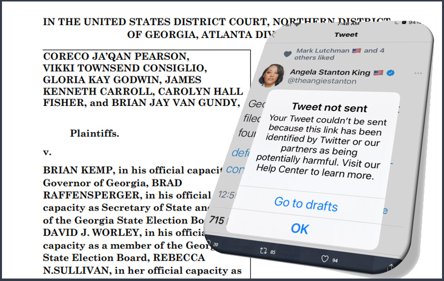 "Twitter ""Mistakenly"" Censors Links to Michigan and Georgia Lawsuits Claiming ""Massive Election Fraud"" As ""Potentially Harmful"" Information"