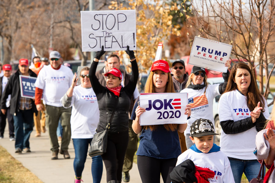 Pro Trump supporters at a Stop the Steal rally holding signs against the media declaring Joe Biden President elect due to voter fraud and vote count being incomplete. Nov 7, 2020, Helena, Montana. Photo credit: Brandi Lyon Photography / Shutterstock.com, licensed.