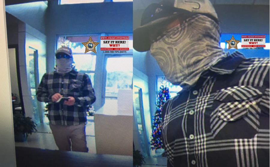 According to detectives, around 4:30 p.m., a man walked in to the branch location at 8690 Gladiolus Drive and passed a teller an envelope and note demanding cash. As soon as the teller complied, the suspect left the bank on foot.