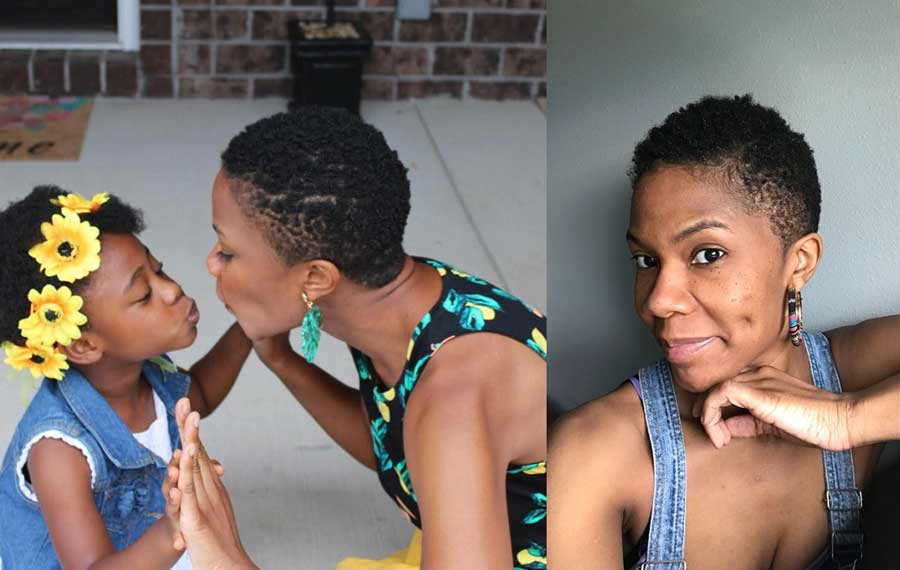KHN [Kaiser Health News] Midwest correspondent Cara Anthony poses for a photo with her daughter on Aug. 29 (left), and shows off her buzz cut after a trip to the salon in June (right). Three months into the pandemic, Anthony said goodbye to chemically straightened hair, which led to many conversations with her daughter about what it means to go natural. Photo credit: Anthony family, Cara Anthony.