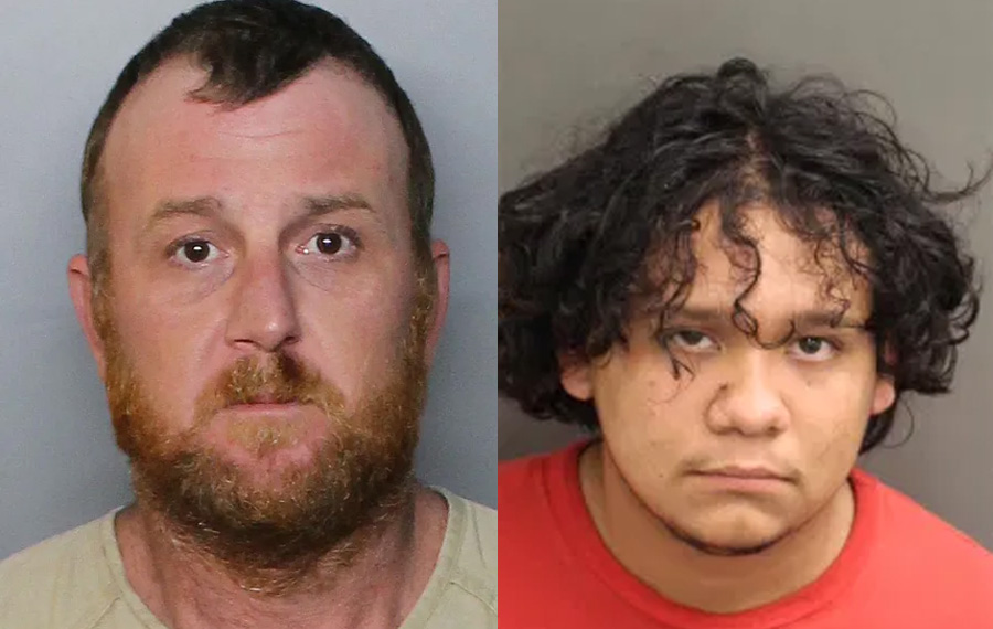 Bruce Layendecker, 36, left, was arrested on six charges including burglary, larceny and petit theft in the second degree, possession of firearm ammunition or weapon by a Florida convicted felon, marijuana possession, and possession of drug paraphernalia. Andres Santiago, 18, was charged with four counts of vehicle burglary, three counts of grand theft auto and petite theft.