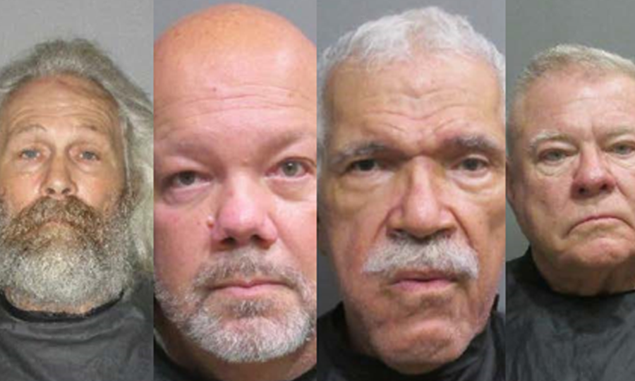 During an undercover operation on Tuesday, November 3, (from left to right) Harold White, 61, John Gauci Jr., 56, John Wesley Troxler, 72 and Thomas Ambrose Deakins, 74, were all arrested and charged with Exposure of Sexual Organs.