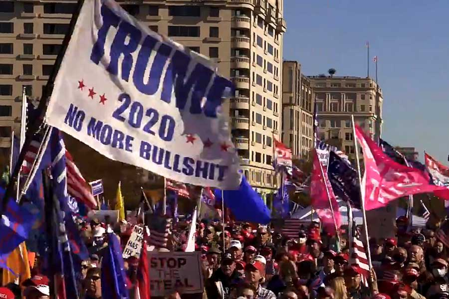 "Supporters of President Trump rallied on Nov. 14, 2020, in Washington. The ""Million MAGA March,"" drew hundreds of supporters of Donald Trump to the nation's capital on Saturday in protest of President-elect Joe Biden's election win."