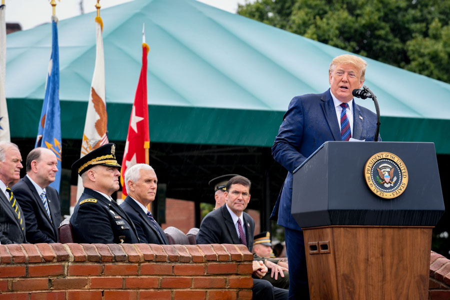 An Armed Forces Welcome Ceremony in honor of the Chairman of the Joint Chiefs of Staff U.S. Army Gen. Mark A. Milley is held at Joint Base Myer-Henderson Hall, Arlington, Va., Sept. 30, 2019. The ceremony was hosted by President Donald J. Trump and included remarks by Vice President Michael Pence and Secretary of Defense Mark T. Esper. U.S. Army photo by Sgt. James Harvey. The appearance of U.S. Department of Defense (DoD) visual information does not imply or constitute DoD endorsement.