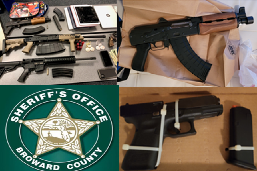As a result of the investigation, Broward Sheriff's Office and Florida Department of Corrections Office of Community Corrections arrested four people, seized five guns and confiscated drugs, ammunition, a bulletproof vest and evidence of identity theft.