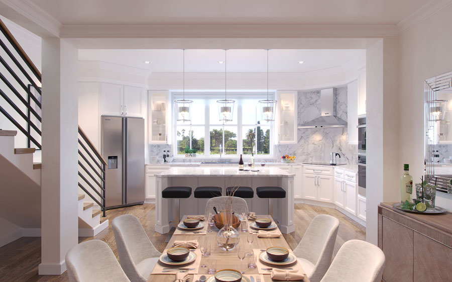 The second level – which features a dramatic open staircase – has a spacious open area with huge windows, a chef's kitchen with an entertainment-size quartz center island, a half bath, dining and living rooms with double doors opening to a balcony.