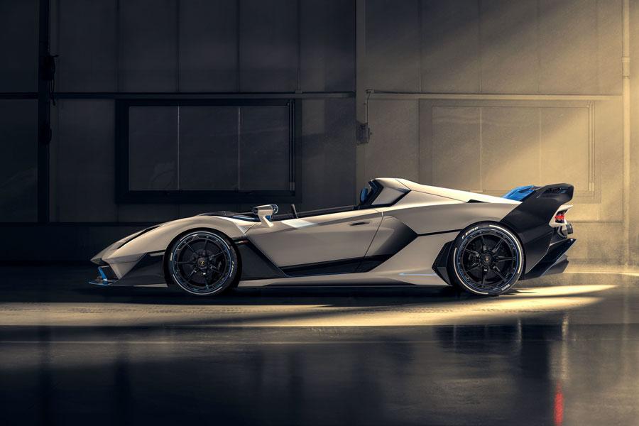 Unique open-top model with V12 engine by Lamborghini Squadra Corse. Carbon fiber body featuring racing aerodynamics. Innovative design by Lamborghini Centro Stile.