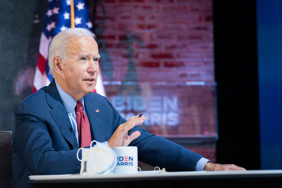Former Vice President and presumed President-elect Joe Biden while attending briefing in Wilmington, DE - October 28, 2020. Editorial credit: Nuno21 / Shutterstock.com, licensed.