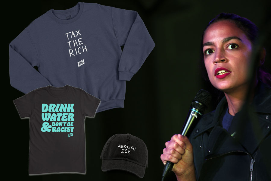 Ocasio-Cortez, who often champions herself as an advocate for economic equality and a proponent of a marginal tax as high as 70% on income above $10 million to pay for the proposed $93 trillion Green New Deal, was roundly criticized and mocked on social media for her pricey sweatshirt gaffe, which many saw as tone-deaf as it relates to her base. Underlying photo credit: Katherine Welles / Shutterstock.com, licensed.