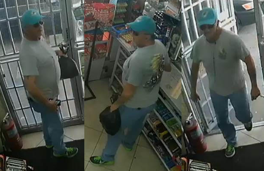 Detectives are seeking the identity of A male suspect who entered Chevron gas station located in the 1900 block of North Dixie Highway, City of Lake Worth Beach, noticed a wallet lying on the counter and snatched it, concealing it on his person as he walked out of the store.