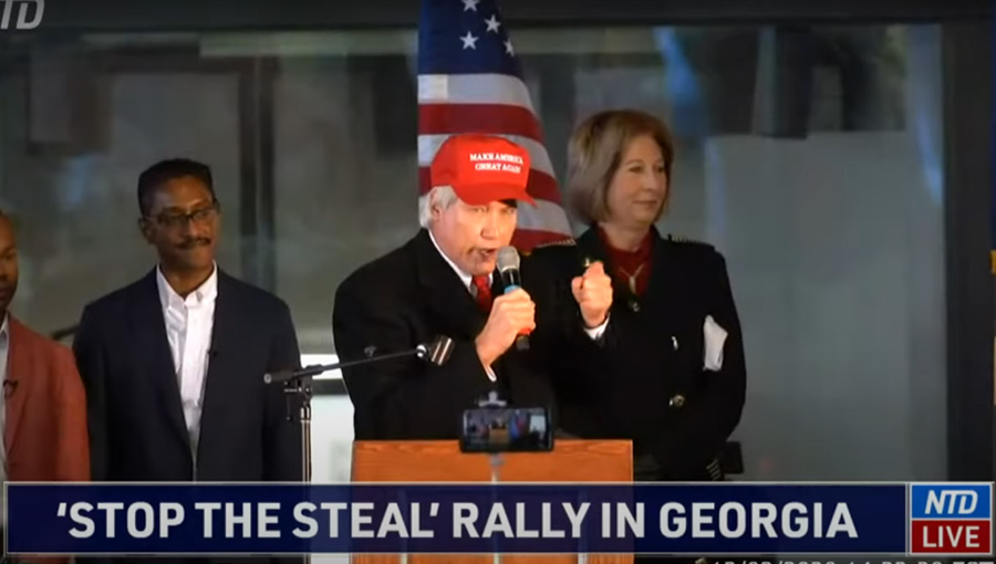Attorney Lin Wood and Attorney Sidney Powell,  attend a 'Stop the Steal' rally in Georgia on December 2, 2020. Streamed live via Youtube by NTD News www.ntd.com