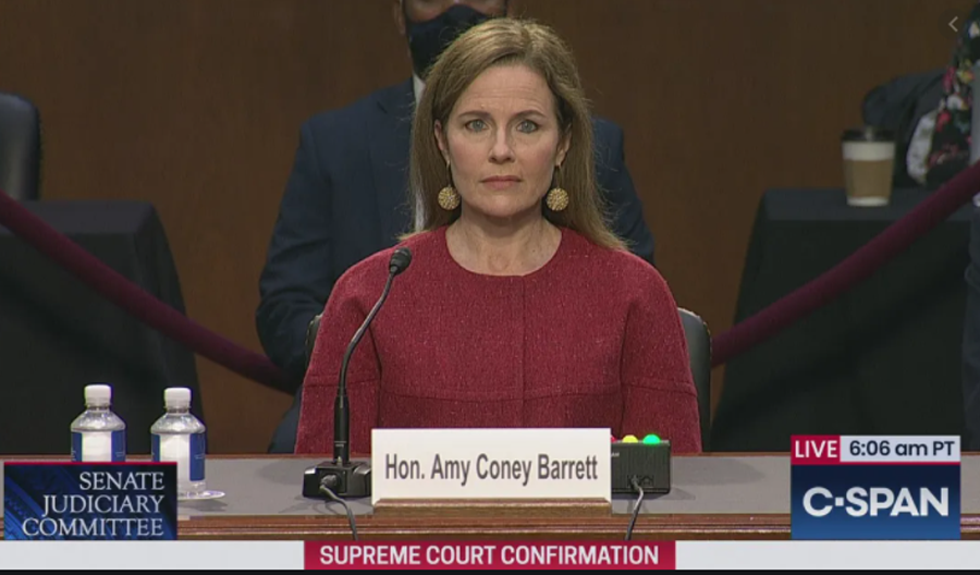 he Biblical meaning of Amy—as in Coney Barrett, who suddenly was placed on the Supreme Court at the very last minute—is God has given.  Photo credit: C-SPAN.