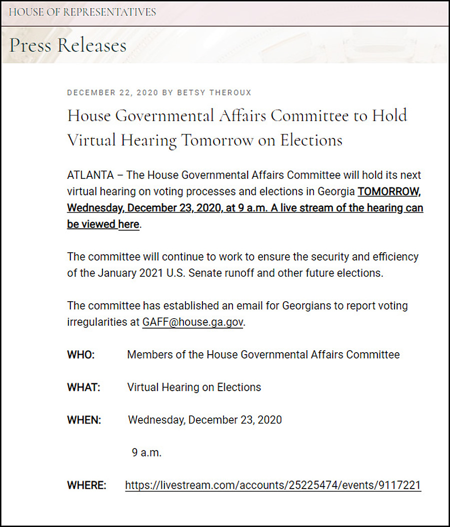House Governmental Affairs Committee to Hold Virtual Hearing Tomorrow on Elections