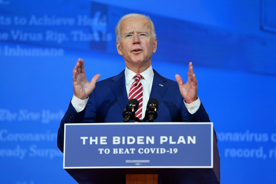 President Joe Biden as he delivered remarks on Covid-19 at The Queen theater in Wilmington. November 9, 2020. Editorial credit: Stratos Brilakis / Shutterstock.com, licensed.