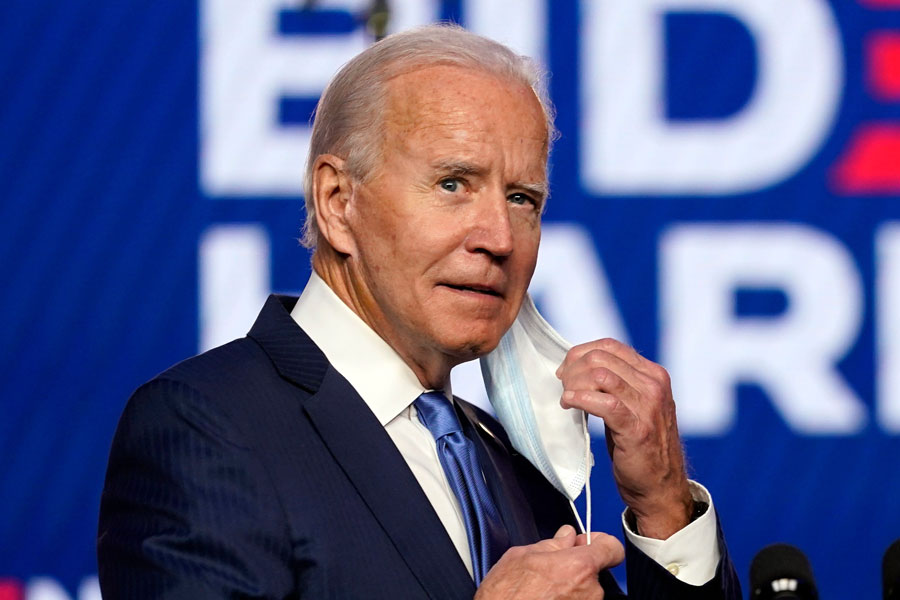 """Joe Biden as he spoke to his supporters in Wilmington, Delaware about how Americans """"want the country to come together and not be pulled apart"""", October 30, 2020. Photo credit: Alex Gakos / Shutterstock.com, licensed."""