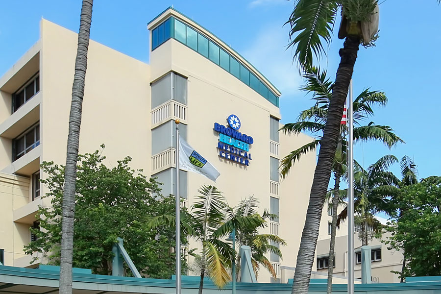 The entrance to Broward Health Medical Hospital in Fort Lauderdale, Florida as seen on July 3, 2020. Editorial credit: Jillian Cain Photography / Shutterstock.com, licensed.