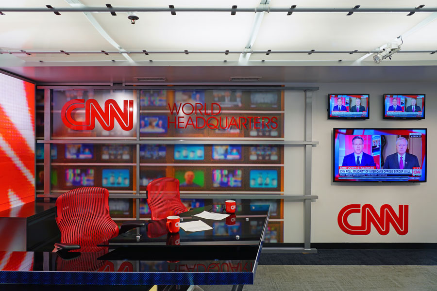 View of the CNN Center, the world headquarters of the CNN news network located in downtown Atlanta, Georgia. Taken during a studio tour.  January 4, 2019, Editorial credit: EQRoy / Shutterstock.com, licensed.