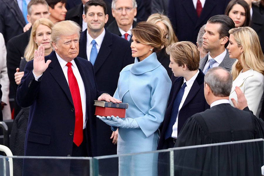 President Donald J. Trump as he swore to support and defend the Constitution of the United States against all enemies, foreign and domestic. January 20, 2017, U.S. Capitol building in Washington, D.C., Official White House Photo.