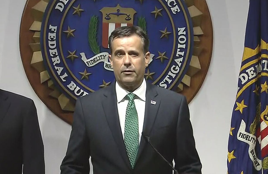 Director of National Intelligence John Ratcliffe during a news conference from FBI headquarters on election security. Ratcliffe announced they had confirmed that two foreign actors--Iran and Russia--had taken specific action to influence public opinion. October 21, 2020 Photo credit: C-SPAN.