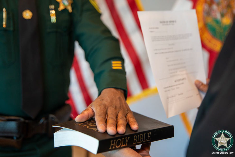 On Jan. 5, 2021, Sheriff Gregory Tony took the oath of office to continue serving as Broward County sheriff. The oath of office is a sacred trust, a promise that Sheriff Tony has made to the community he services, the residents of Broward County, to his fellow first responders, and to himself.