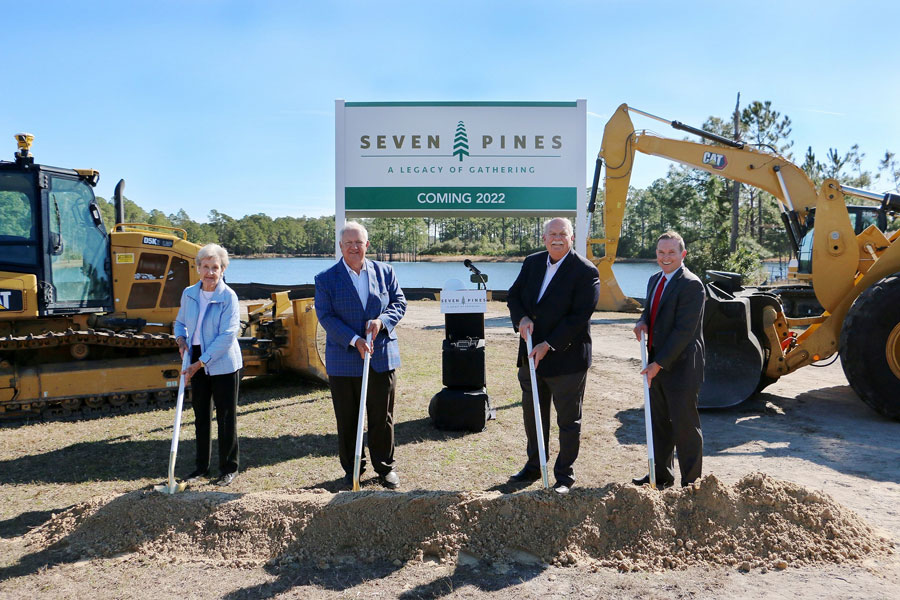 The Skinner family, ICI Homes, and City of Jacksonville leaders recently celebrated the groundbreaking of Seven Pines, a new master-planned community in Jacksonville. From left, Mary Virginia Skinner Jones, Mori Hosseini, Chairman/CEO, ICI Homes, David Weekley, Chairman, David Weekley Homes, Mayor Lenny Curry, City of Jacksonville.