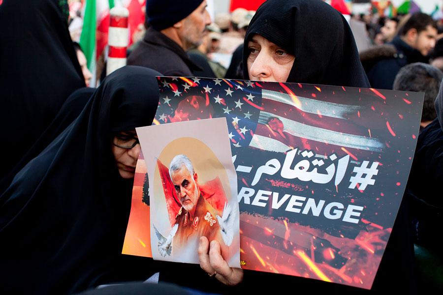 Funeral of Qassem Suleimani assassinated by American drones, Qasem Soleimani was an Iranian major general in the Islamic Revolutionary Guard Corps (IRGC). Iran Tehran, Jan 7, 2020. Editorial credit: Saeediex / Shutterstock.com, licensed.