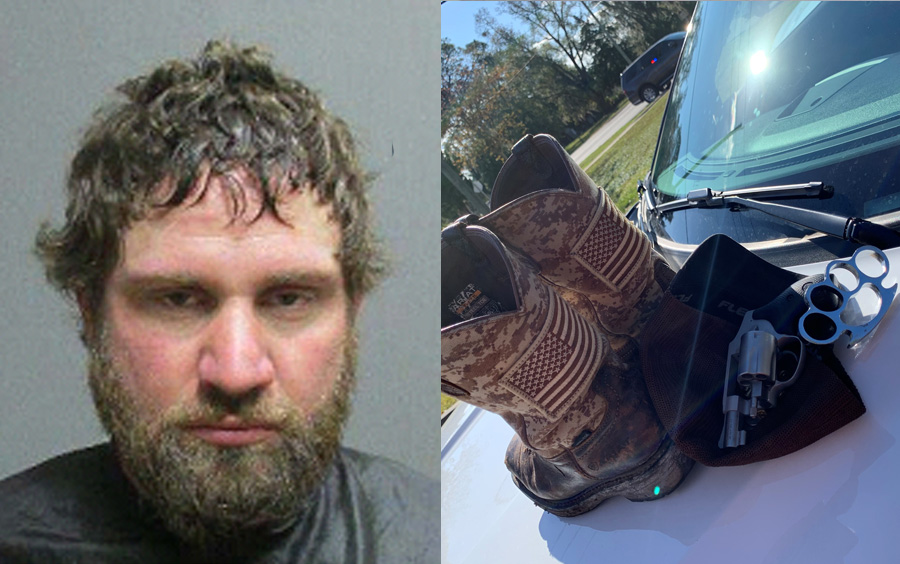 Left: Mixon's booking photo. Right: Brass knuckles and firearm found on the suspect and within the suspect's vehicle.