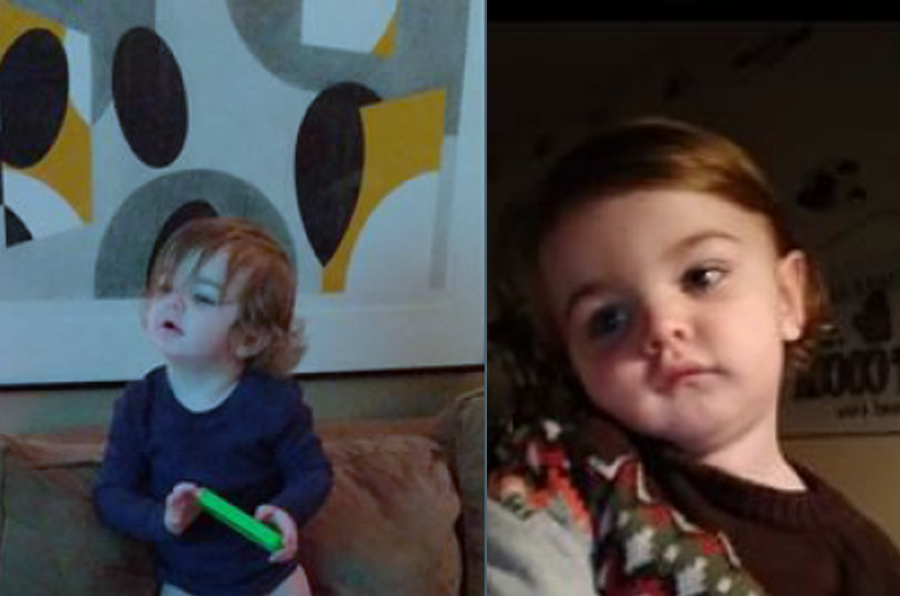 """The child is a white male, about 2 feet tall, weighing 25 pounds, with chin-length blonde hair and blue eyes. He was last seen wearing a long-sleeved gray shirt with a dinosaur design and """"DINO MITE"""" on the front, black pants and white socks."""