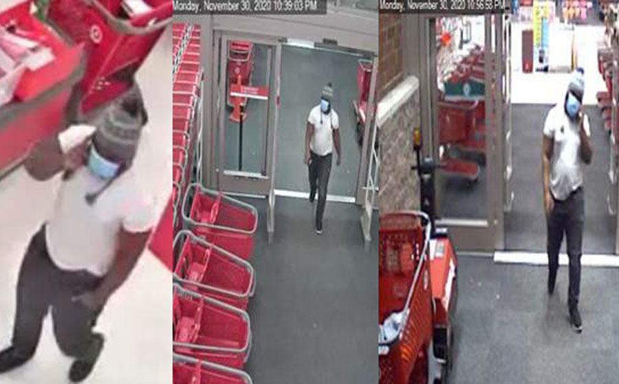 According to authorities, the unknown suspect entered Target, helped himself to numerous items and paid for them with the victim's stolen credit cards. This incident occurred on November 30, 2020. Target is located in the 600 block of N. Congress Ave, Boynton Beach.