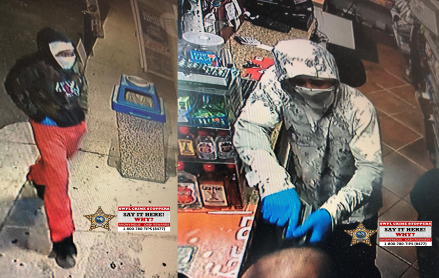 According to detectives, shortly after 10:30 p.m. on Friday, January 8th, two males walked into the Sky Food Mart, located at 17597 Rockefeller Circle in Fort Myers, FL. The male suspects both brandishing semi-automatic handguns and approached the clerk demanding all the cash in the register.