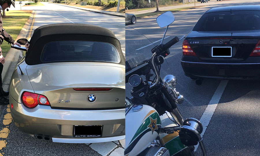 At 2:25 p.m., FCSO Deputy Nunziato observed two vehicles racing southbound on Belle Terre from Matanzas Woods Parkway. Both vehicles were traveling between 75 to 80 mph before encountering other traffic at which time they tried to maneuver around the traffic.