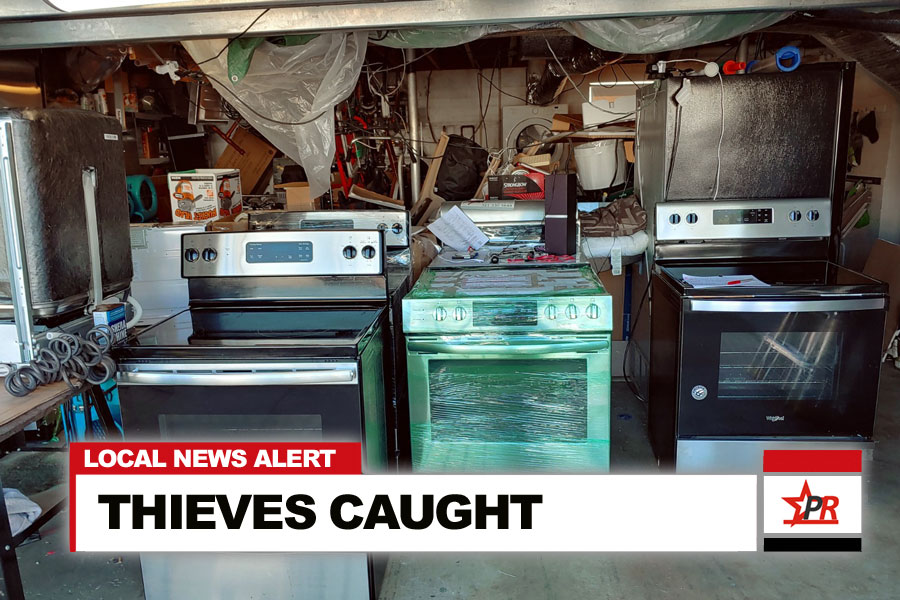 Volusia detectives recovered several brand-new stoves, microwaves and dishwashers and arrested two suspects after executing a search warrant Wednesday at a Daytona Beach-area home.