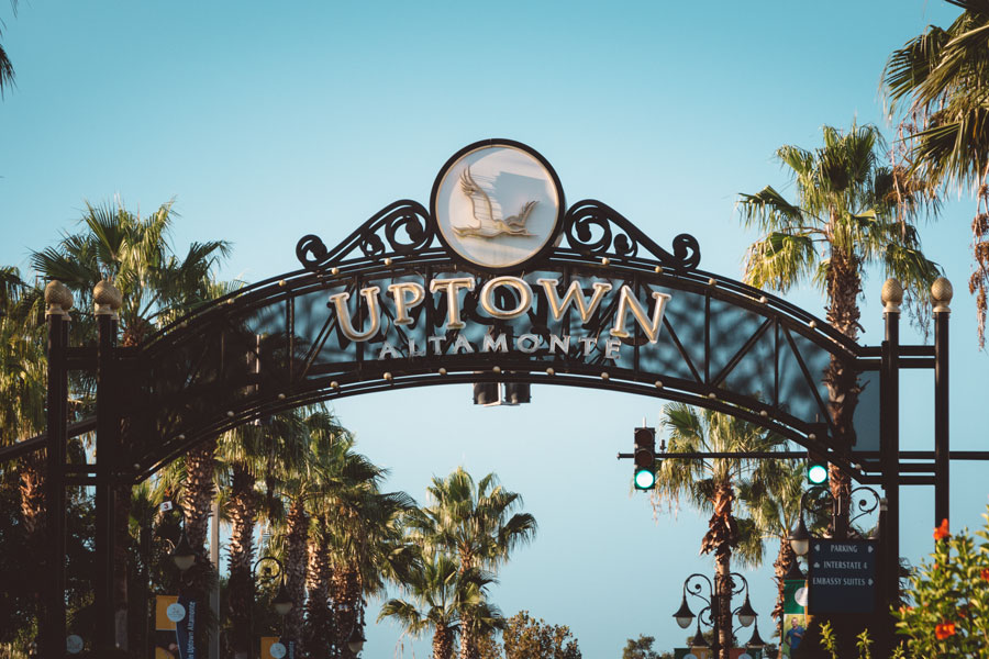 Uptown Altamonte entrance sign in Altamonte Springs, Florida early morning. Photo credit ShutterStock.com, licensed.