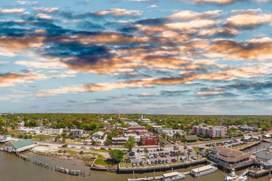 Amelia Island in Fernandina Beach, Florida. Aerial panoramic view at sunset. Photo credit ShutterStock.com, licensed.