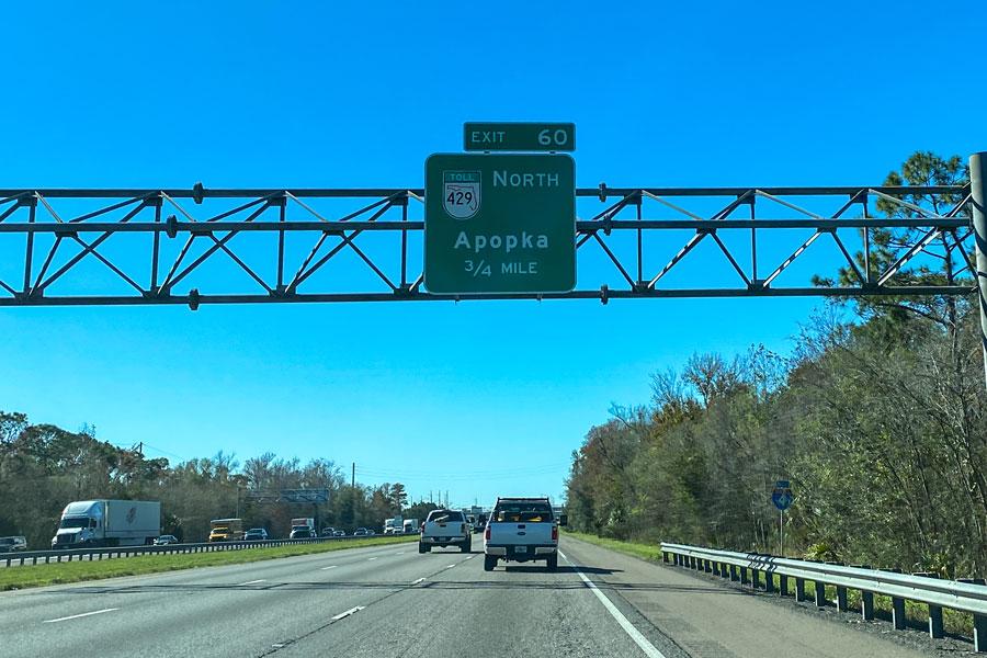 Highway sign on Interstate 4 leading to Highway 429 towards Apopka, Florida. January 20, 2020. Orlando, FL. Editorial credit: Joni Hanebutt / Shutterstock.com, licensed.