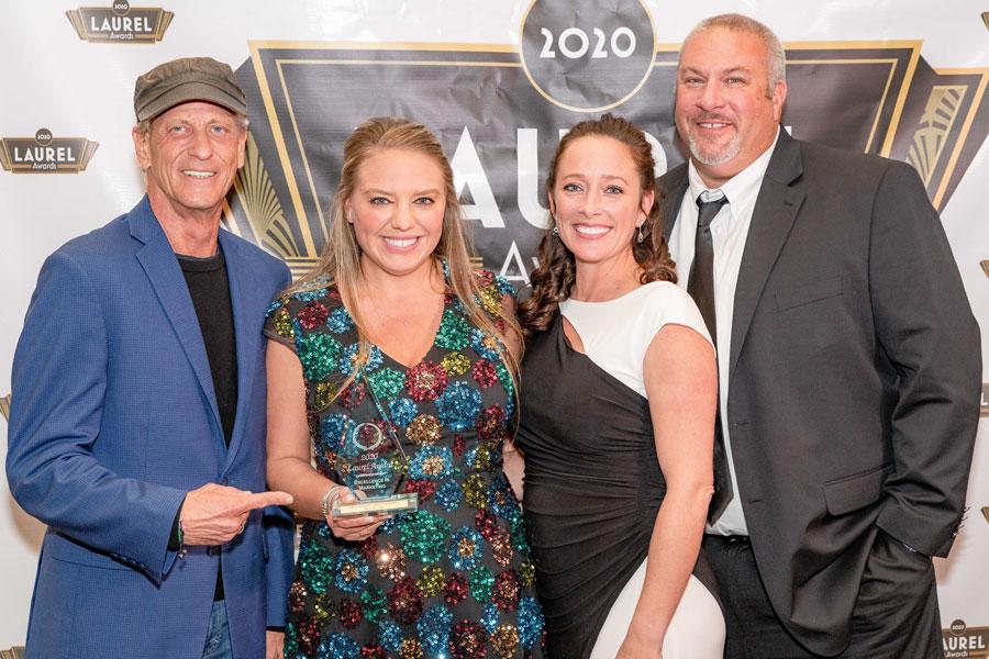 BBX Capital Real Estate received a gold Laurel Award for Best Community Website for Beacon Lake. From left, Bruce J. Parker, Jenn Kjellman, Danielle Simpson and Aaron Lyman.